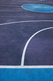 Colorful basketball court in the street