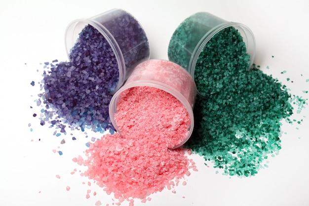 Colorful bath salt scattered