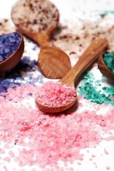 Colorful bath salt scattered