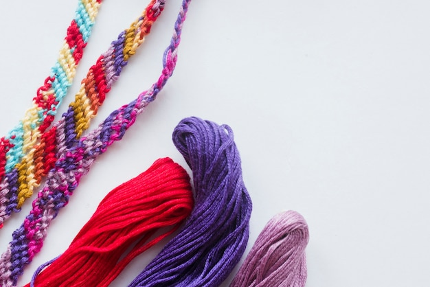 Colorful baubles and yarn