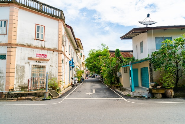 Colorful and beautiful building old town and landscape in songkhla, thailand