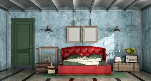 レトロなスタイルのカラフルなベッドルーム