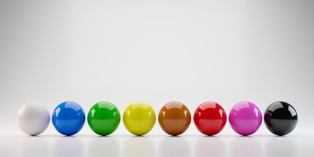Colorful billiards balls with standard eight colors. 3d render of snooker pool balls object.