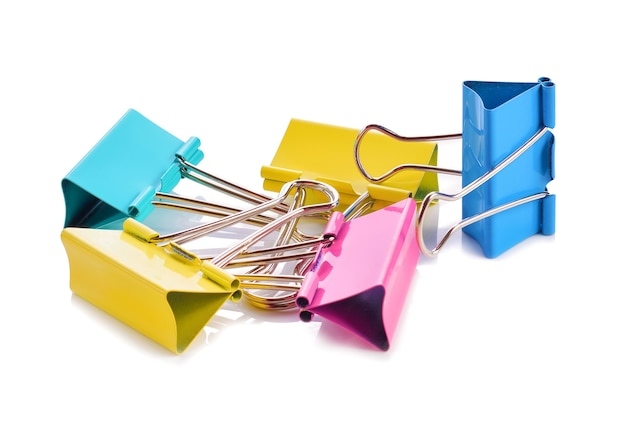 Colorful binder clip isolated