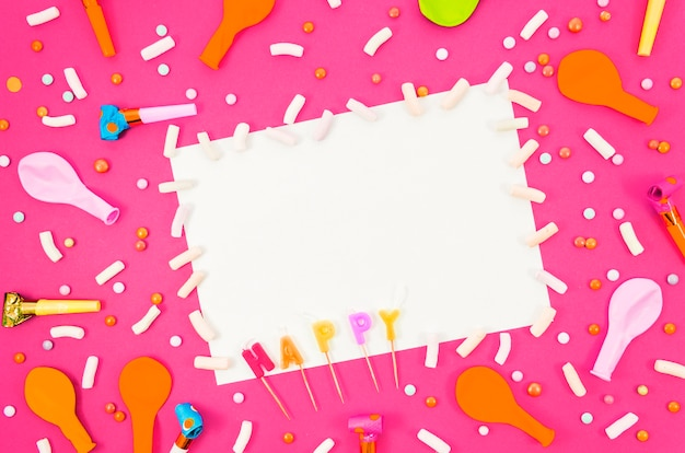 Colorful birthday balloons with a paper sheet