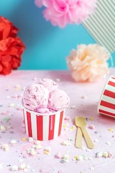 Colorful birthday party concept, celebration, ice cream, confetti, sparkles, circus