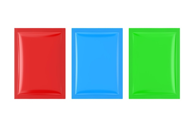 Colorful blank bag packages mockup on a white background. 3d rendering