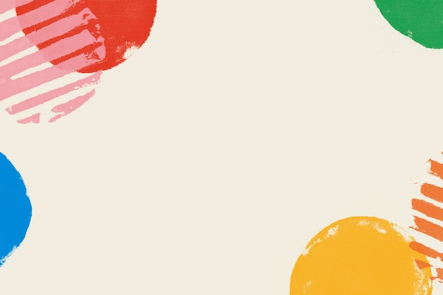 Colorful block print frame on beige background