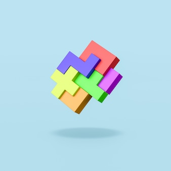 Colorful blocks combined on blue background