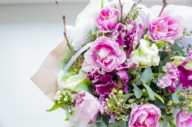 Colorful blossoming flower bouquet of fresh quicksand roses
