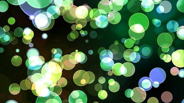 Colorful blue green light bubble divine dimension bokeh blur absract dark background