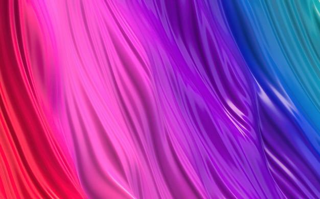 カラフルなブルーパープルピンクの波状の光沢と光沢のあるプラスチックの抽象的な背景。