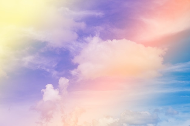 Colorful blue sky with cloud.