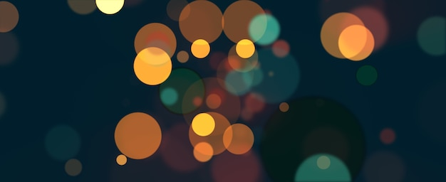 Colorful bokeh abstract panoramic background. christmas new year  bokeh lights over dark blue background. 3d rendering illustration abstract festive holiday illumination and decoration concept.