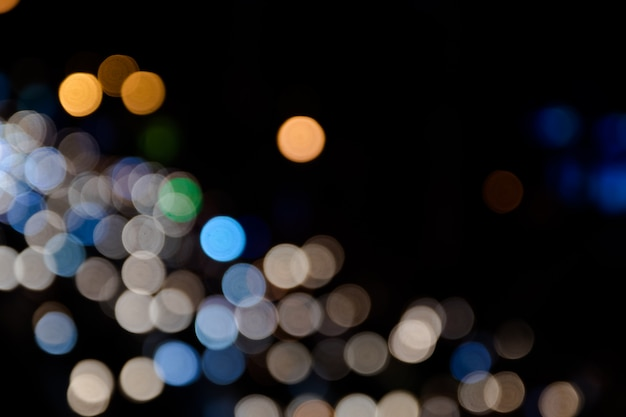Colorful bokeh of the car light on the street