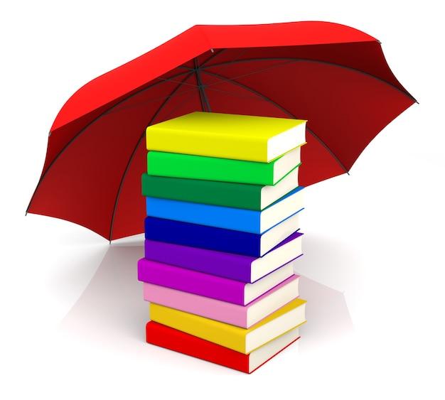 Красочная книга с красным зонтиком. 3d-рендеринг