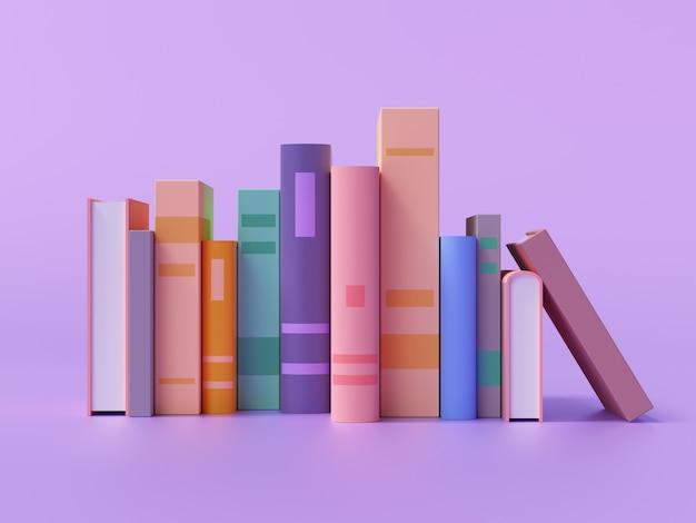 Коллекция красочных книг на фиолетовом