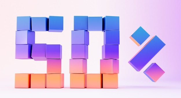 Colorful boxes forming the number fifty isolated on white background, 3d render
