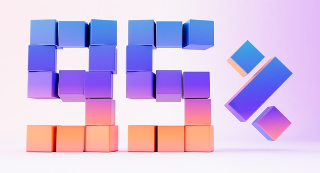 Colorful boxes forming the number ninety-five isolated on white background, 3d render