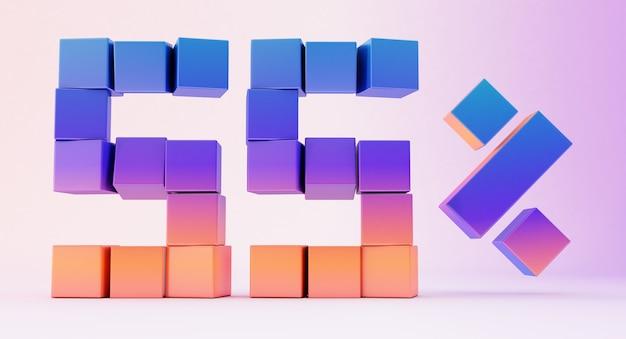 Красочные коробки, образующие число пятьдесят пять, изолированные на белом фоне, 3d визуализация