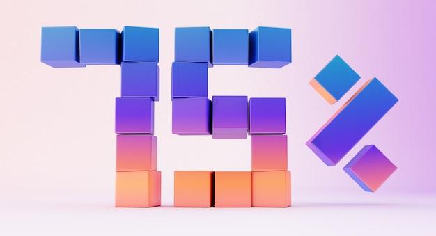 흰색 배경에 고립 된 숫자 75를 형성하는 다채로운 상자, 3d 렌더링