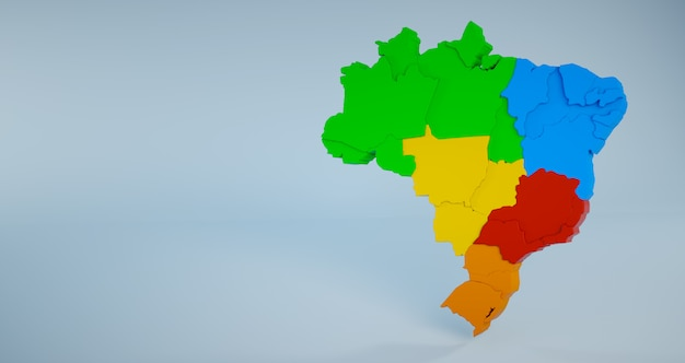 Colorful brazil map with states and regions