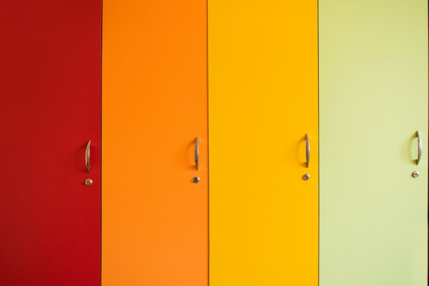 Colorful bright doors of cabinets