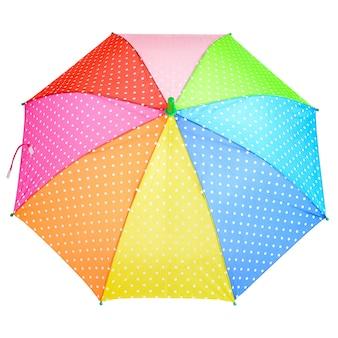 다채로운 밝은 폴카 도트 우산 흰색 배경에 고립 클로즈업. 무지개색 우산을 엽니 다.