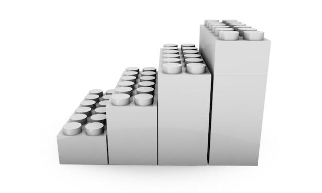 Красочные строительные блоки, изолированные на белом 3d визуализации