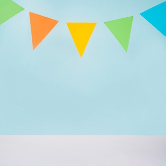 Colorful bunting on blue background