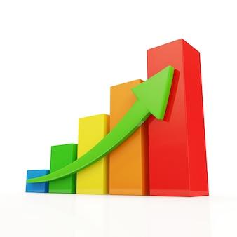 다채로운 비즈니스 그래프 흰색 절연