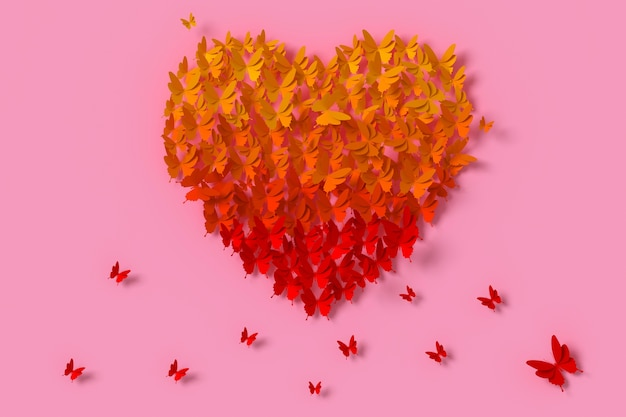 Colorful butterfly paper style are heart shape, 3d rendering, with clipping path.
