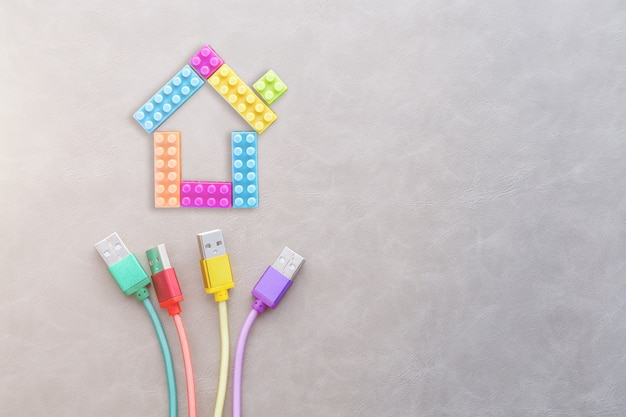 Colorful cable wire connect with house plastic block