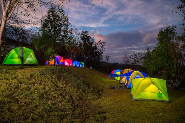 Colorful camping tents in thailand.