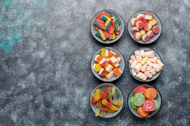 Colorful candies, jelly and marmalade, top view