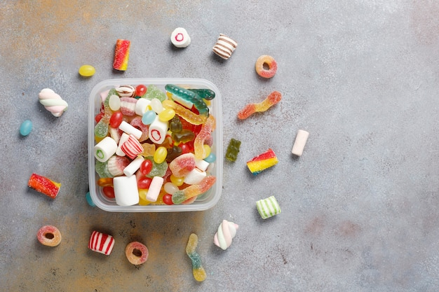 Colorful candies, jelly and marmalade,unhealthy sweets.