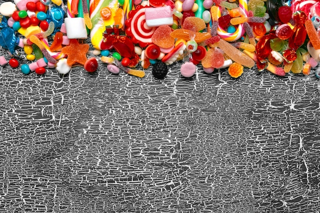 Colorful candies on old