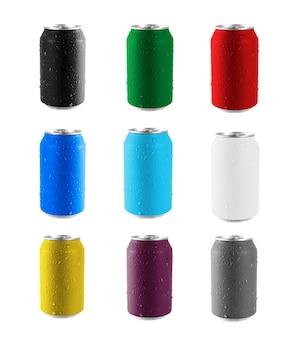 Коллекция красочных банок, изолированные на белом фоне. файл содержит обтравочный контур, поэтому легко работать.