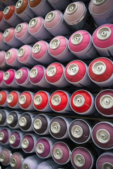 Colorful cans of paint