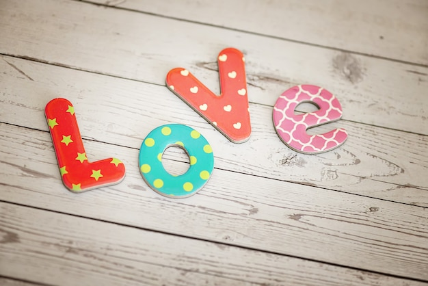 Colorful cardboard letters spelling out