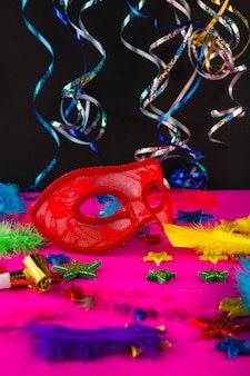 Colorful carnival composition with masks