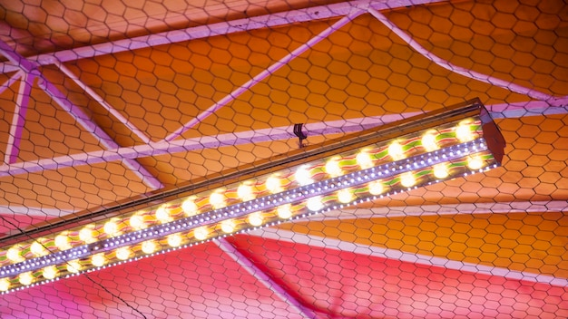 Colorful ceiling with lights on