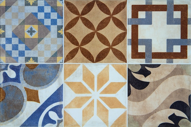 Colorful ceramic tiles with portugal mediterranean style pattern scene.