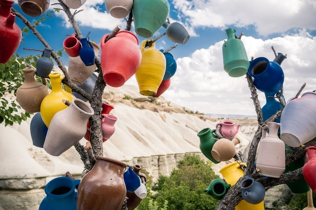 七面鳥の山の背景の木の枝にぶら下がっているカラフルなセラミック花瓶