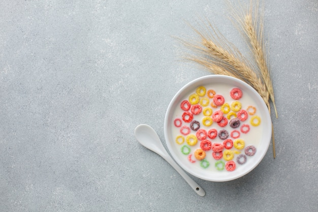 Colorful cereal bowl with milk and wheat