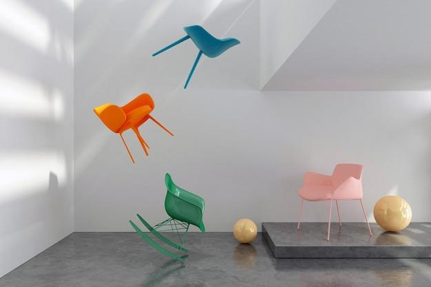白い部屋のカラフルな椅子とボール