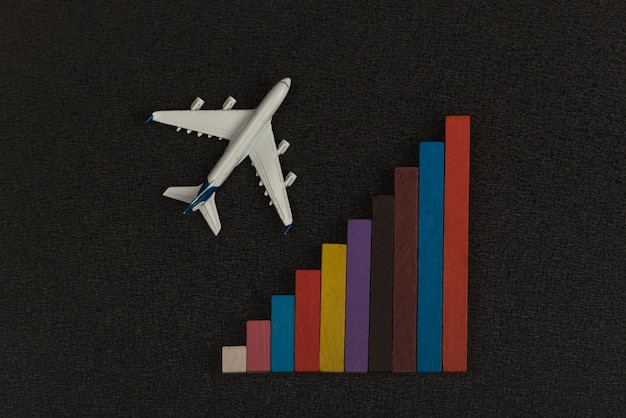 Colorful chart and model airplane on black background. statistics of air travel concept.