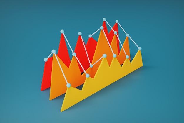 ピークパフォーマンスと低パフォーマンスを示す統計のカラフルなチャート