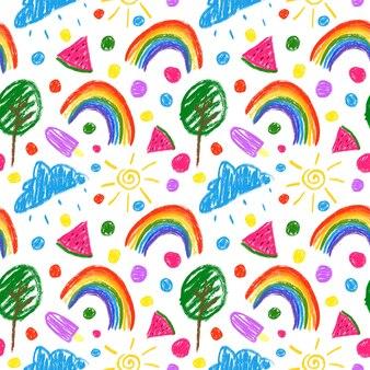 Красочный детский бесшовный узор на белом фоне. цветные карандаши, рисунок, повторить печать.