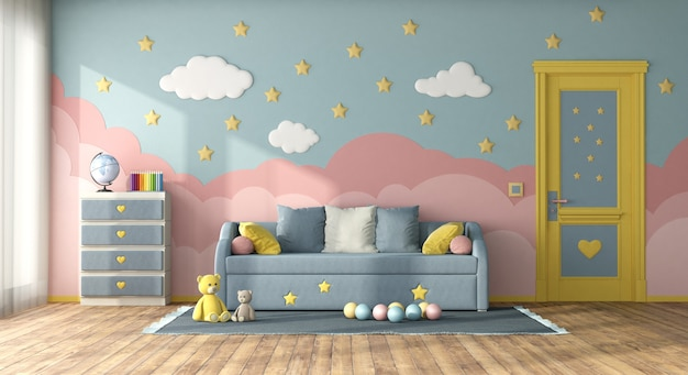 Colorful children room with sofa bed, closed door and chest of drawer - 3d rendering